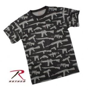 AK 47, AR 15, M1 Garand, UZI, Steyr AUG, and S&W revolver pattern T-Shirt
